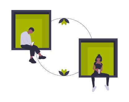 Illustration zwei Menschen im Chat