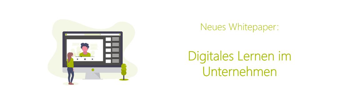 Illustration mit Titel Neues Whitepaper Digitales Lernen im Unternehmen