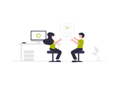 Illustration zwei Personen vor Monitor, die Bild zusammen hochhalten