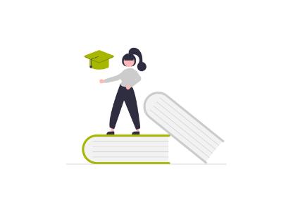 Illustration Frau auf Büchern mit Absolventenhut