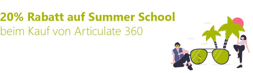 Banner Sommer-Angebot, Illustration Menschen Palme Sonnenbrille