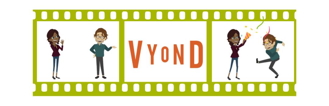Grafik, Filmstreifen mit Vyond-Logo und illustrierte Figuren