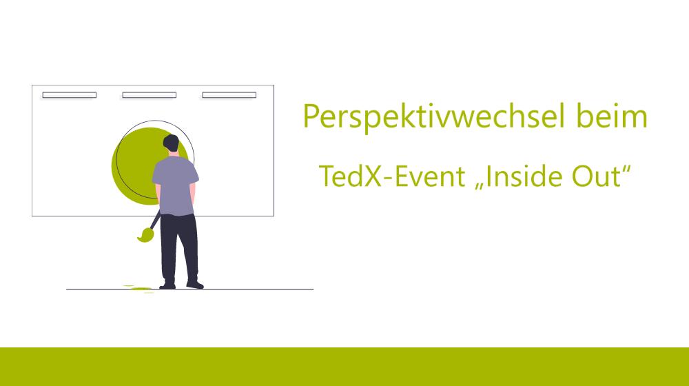 Illustration, Mann vor Leinwand, Perspektivwechsel beim TedX-Event