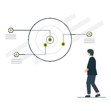 Illustration pie chart man